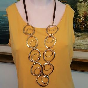 Golden hammered rings long necklace